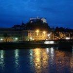 Salzach river & Fortress Hohensalzburg at night