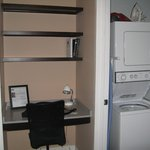 Small desk w book shelves, in suite washer/dryer