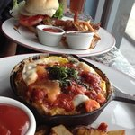 Three-egg Frittatas and Hamburger w/ fries