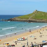 Porthmeor beach and the Island
