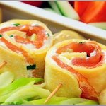 Salmon Crepe Breakfast Roll
