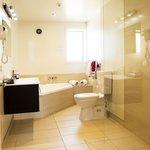 One bedroom spa bath unit bathroom.