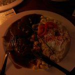 Beef cheeks with sheep cottage cheese and potatoes