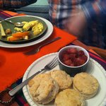 Amazing biscuits with fancy bacon.