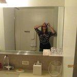 Bathroom mirror/sink area