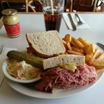 Montreal Smoked on Rye with slaw and fries. Good selection of mustards.