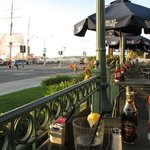 view from patio area to the clipper ship and harbor