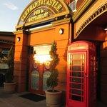 front door with British phone booth