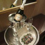 Champagne & Chocolate Covered Strawberries in Entry of One Bedroom King Suite