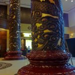 Hotel entry area : a bit like in a temple, the pillars, nice