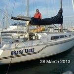 Keith packing Brass Tacks away after an evening sail