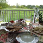 Enjoy sparkling apple cider & cheese on our front porch