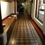 The hallway leading to the rooms