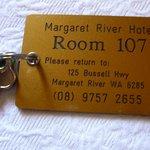 Room Key 107 of Margaret River Hotel