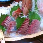Sashimi, sliced fresh fish for three