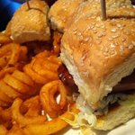barbeque chicken sliders with fries
