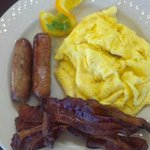 Another yummy start to the day! Delicious hot scrambled eggs, bacon and sausag
