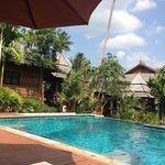 Lush pool away from loud road