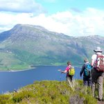Hiking in the Torridon Mountains, Ben Eighe looking onto Loch Maree