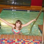 Liz enjoying the pool on a cold winter day