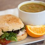 Soup and Sandwich - Lentil Soup and Turkey Panini