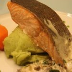 Salmon fillet in creamy mushroom sauce& parsley oil.served with potato-parsley puree