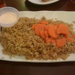 Fried rice with shrimp sauce and carrots