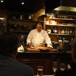Chef John cutting cornbread
