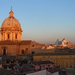 Rooftop deck at sunset.  The church is Santa Andrea della Valle.