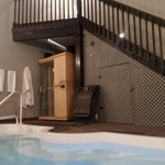 Sauna/pool area and stairs leading to the suite