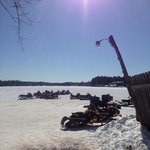 parked our sleds on the lake!