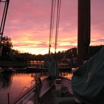 Sunset in Friday Harbor from the decks of the Schooner