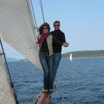 Adventurous couple out on the bowsprit!