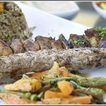Skewer lamb and chicken oriental style
