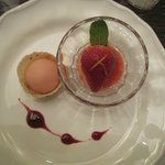 poached strawberry with kimchi sorbet and raspberry sauce