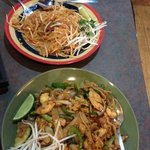 Top: Beef Pad Thai. Bottom: Chicken Drunken Noodles