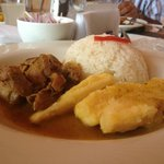 Pulled lamb with rice and yuca