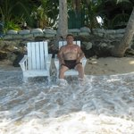 Hubby enjoying the waves under the tree