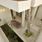 """La salle de bain """"jardin"""", immense avec douche extérieure"""