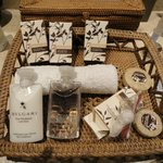 Lovely bathroom bits and pieces - Bvulgari soaps.