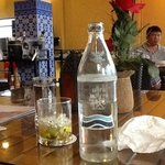 bottled water was served in