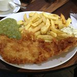 VERY NICE COD AND CHIPS MUSHY PEAS TEA AND BREAD AND BUTTER
