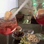 Campari spritz and snacks at Mona Lisa Cafe.  So Good!