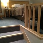 Stairs from the bathroom level to the bedroom