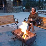 My beautiful wife next to the fire at Waldhaus Pub