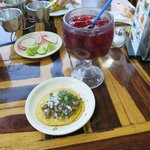 Tacos and Jamaica drink