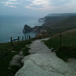 Walking down to Durdle Door from Lulworth Cove
