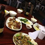 Peking Duck, Chinese Broccoli, and mussels. -Taken with an Apple iPhone 5
