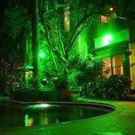 Night time view of Inn & gardens