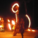 Fire dancing entertainment on the resort grounds